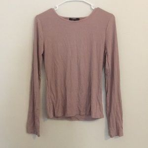 Ribbed mauve dusty pink long sleeve